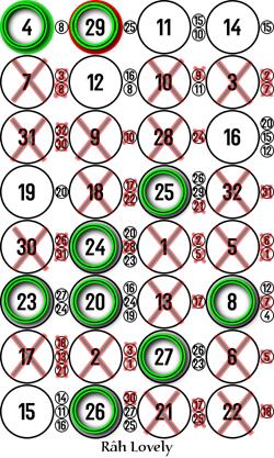 Image 4 x 8 monochrome avec cercles sur bons et croix sur mauvais